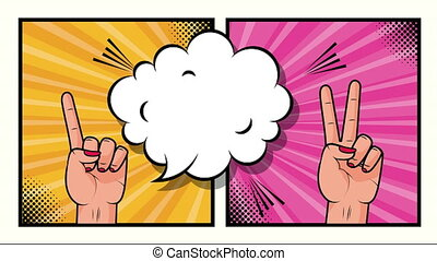 expression speech bubble with bundle of elements pop art style ,4k video animation