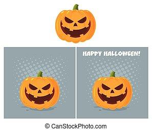 expression., zeichen, halloween, übel, gesicht, vektor, sammlung, emoji, karikatur, kã¼rbis