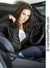expressional woman in the sportcar - american expressional...