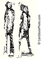 Expressionistic Couple Walking - Expressionistic style ...