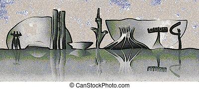 Brasilia skyline - Expressionistic drawing of the Brasilia ...