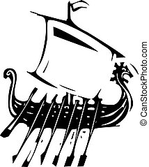 Expressionistic Viking Ship - Woodcut style image of a ...