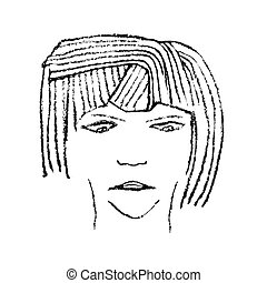 Expressionless Cute Women Raster Illustration