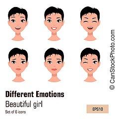 expressions., διαφορετικός , γυναίκα αντικρύζω