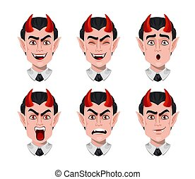 expressions, diable, divers, emotions., facial