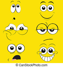 expressions - different expressions face on yellow...