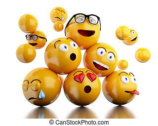 expressions., emojis, icônes, facial, 3d