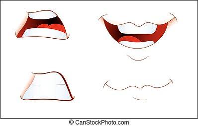 expressions, ensemble, bouche, rire