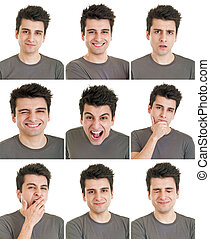 expressions, face homme