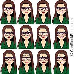 expressions, femme, brunette, lunettes