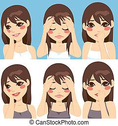 expressions, femme, inquiété