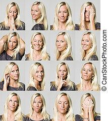 expressions, femme, seize, facial