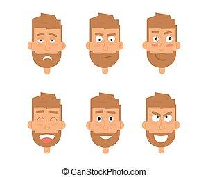 expressions., generazione, emozioni, characters., vettore, vario, facce, uomo affari