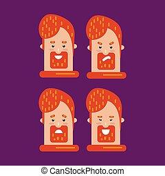 expressions., homem, diferente, jogo, macho, barbudo, emotions., personagem, facial, emoji