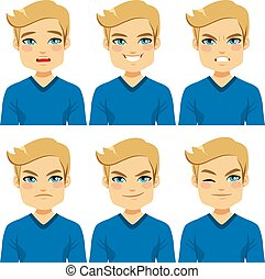expressions, homme, blonds, figure