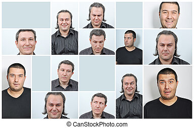 expressions, hommes, facial
