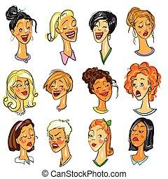 expressions., jogo, -, femininas, caras
