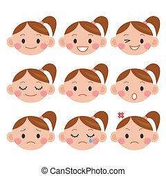 expressions., meisje, spotprent, gekke