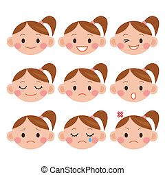 expressions., menina, caricatura, engraçado