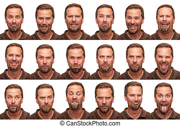 a middle aged man in his early forties posing for 16 different facial expressions.