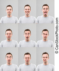 expressions, multiple, facial