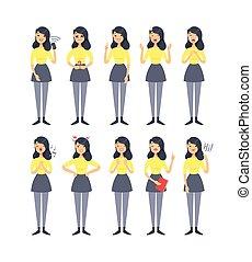 expressions., niña, vector, aislado, woman., dibujo, ...