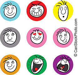 Expressions - Nine illustrations showing different emotions...