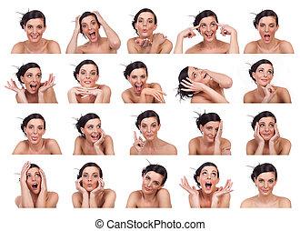 expressions, projection, plusieurs, jeune femme