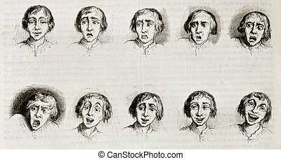 Expressions - Old illustration showing differents...