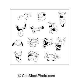 expressions, vecteur, bouche, dessin animé