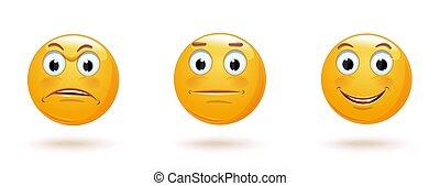 expressions., vecteur, icône, facial, emoticon, divers