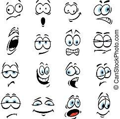 expressions, yeux, dessin animé, émotions, figure
