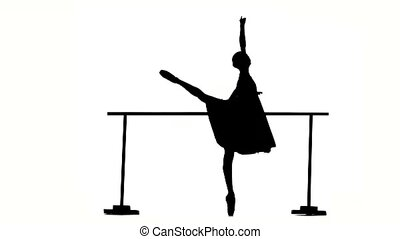 expressive bellet dancer dancing at studio. silhouette