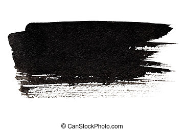 Expressive black brush stroke isolated on the white...