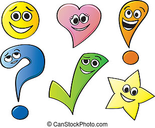 Common shapes with various cartoon facial expressions.