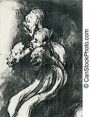 expressive drawing - by Goya - Image, illustration of a...