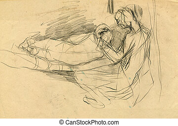 expressive drawing - lovers - Image, illustration of a...
