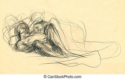 expressive drawing - lovers