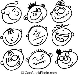 expressive faces - smilie face icons