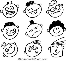 expressive faces - set of cartoon people pulling funny faces