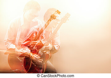 Expressive Guitarist Player With Acoustic Guitar. Shot with Comb