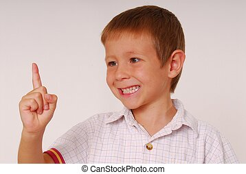 Expressive kid 13 - Young boy with finger in air