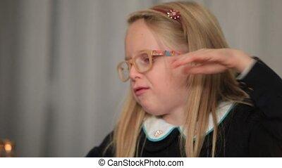 Expressive little girl telling interesting story -...