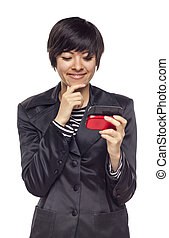 Expressive Mixed Race Woman with Cell Phone on White