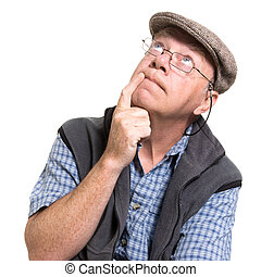 Expressive old man thinking isolated against white...