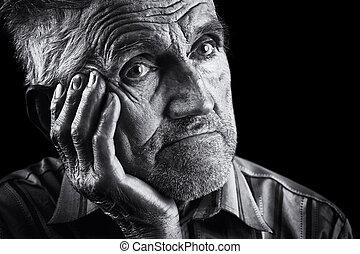 Monochrome stylized portrait of an expressive old man