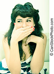 Expressive Vintage girl - A girl dressed in vintage clothes...