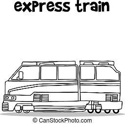 expresso, desenhar, trem, mão