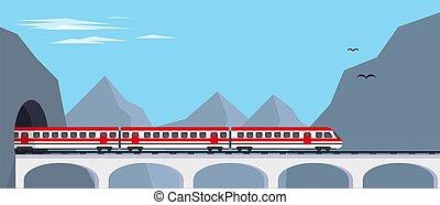 expresso, passageiro, ponte, trem, montanhas.