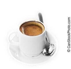 expresso, weißes, freigestellt, bohnenkaffee